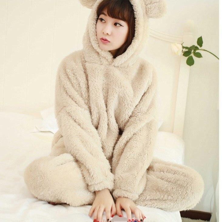 Fashion 2018 New Autumn Women Flannel Pajamas Set Bear Hooded Pajamas Sleepwear Coral Fleece Thickened Warm Pyjamas Home Suit