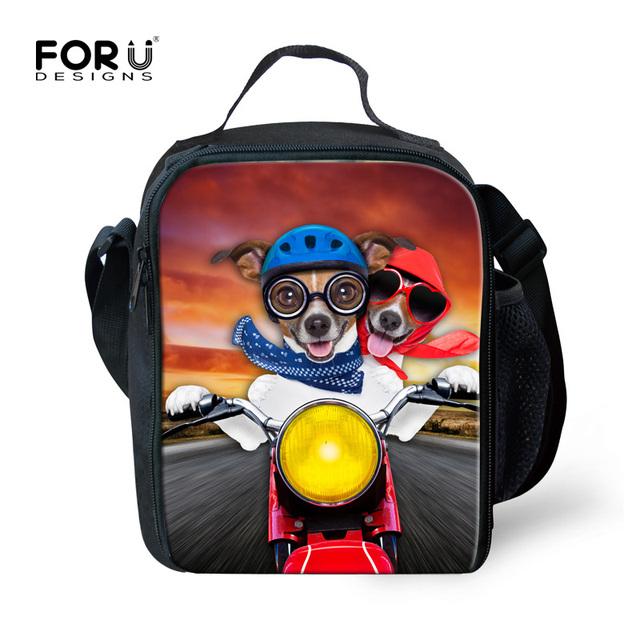 3D Animal bonito Cão Mau Impressão Lunch Bags para Mulheres Homens Personalizado isolados Lancheira Térmica Lancheira Lancheira Das Crianças Das Crianças