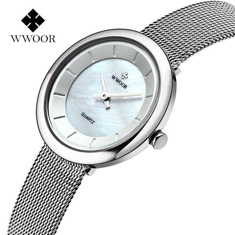 52a3c4cc6a64 Wwoor top de moda de lujo del acero inoxidable malla Correa impermeable mujeres  reloj ultra delgado