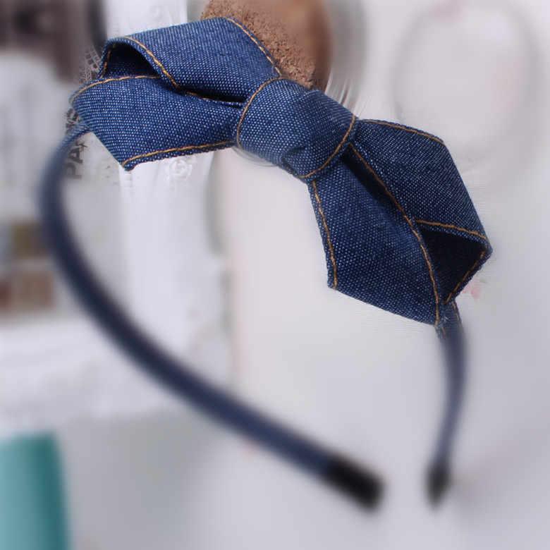 Girl/'s denim bow headband Classic Blue Bowknot fashion lovely hair accessories S