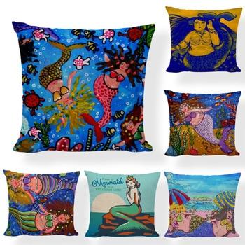 Funny Mermaid Cushion Covers