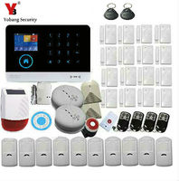 Yobang Security Russian French Spanish WIFI GSM SMS RFID Security Alarm System Gas Smoke Fire Sensor Detector Solar Power Siren