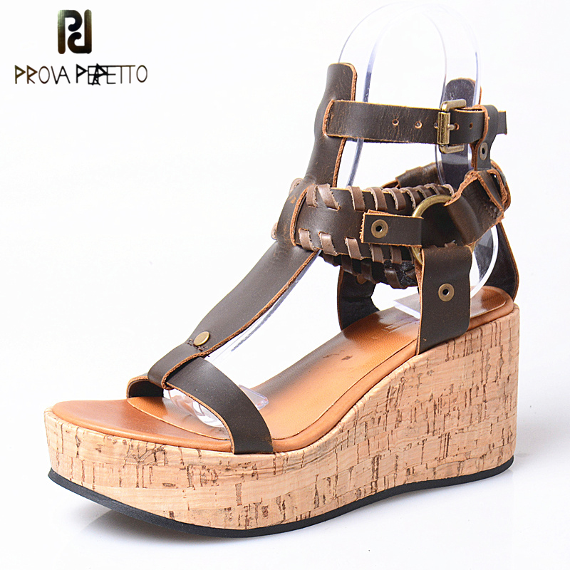 Prova Perfetto Genuine Leather Gladiator Sandals Thick Heel Wedge Shoes Woman Straps Platform Wedges All Match Sandals Mujer choudory bohemia women genuine leather summer sandals casual platform wedge shoes woman fringed gladiator sandal creepers wedges