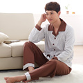 High quality Men Buttons jacket pajamas men's 100% cotton long-sleeved jacket winter and autumn home service men Pyjamas hombre