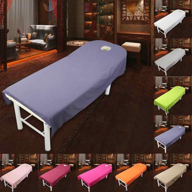 1Pcs Professional Cosmetic salon sheets SPA massage treatment bed table cover sheets with hole 9 Colors to Choose
