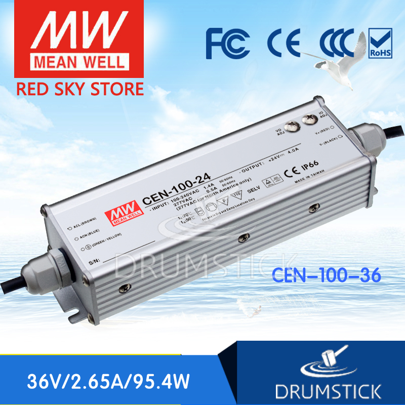 hot-selling MEAN WELL CEN-100-36 36V 2.65A meanwell CEN-100 36V 95.4W Single Output LED Power Supply hot selling 100