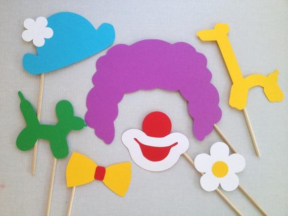 Preferred 7 Piece Clown Photo Booth Props Circus Wedding Birthday Photobooth  BZ66