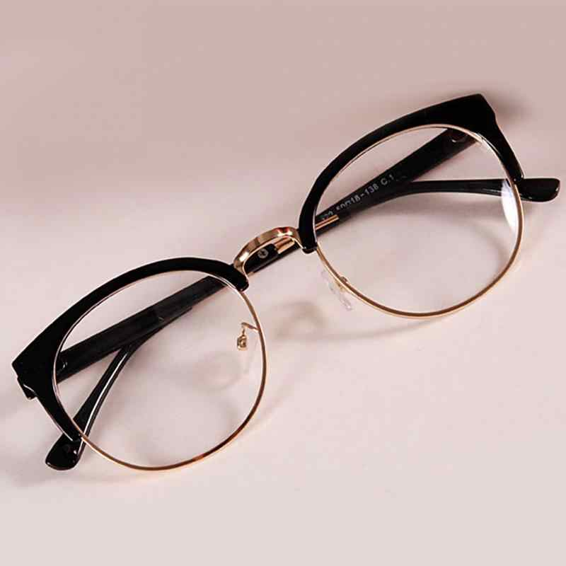 0cf73d62f8be New Style Anti-Radiation Goggles Plain Glass Spectacles Fashion Women  Metal+Plastic Semicircle Frame