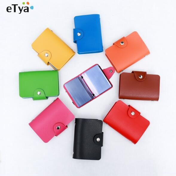 eTya  Leather Women Business Credit Card Wallet Purse  Name Id Card Holder  Bags Case Wallet Box For Women Men As a Gift business card holder women vogue thumb slide out stainless steel pocket id credit card holder case men