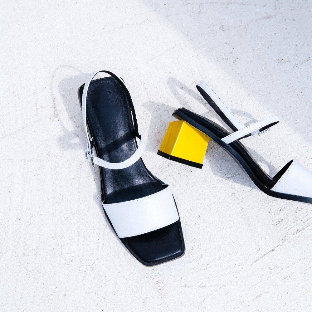 Ayakk.'ten Yüksek Topuklular'de 2019 Moda Peep Toe Yüksek Topuklu Slingback Karışık Renkler Yaz Ayakkabı Ofis Lady Muhtasar Parti Zarif Marka Kadın Sandalet L41'da  Grup 3