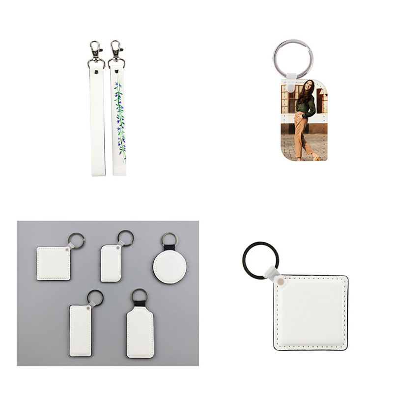 sublimation blank leather rectangle square round keychains hot transfer printing key ring jewelry diy consumables 30pcs
