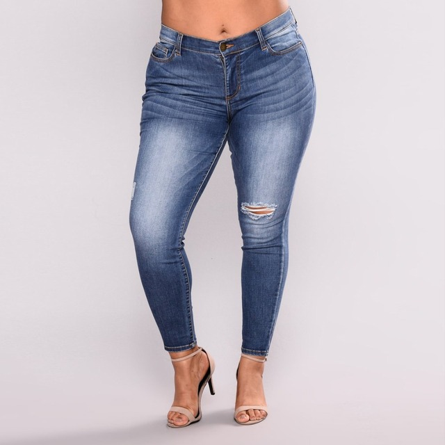 2018 Women Plus Size Mid Waist Skinny Denim Pencil Pants Ladies Casual Stretch Ripped Hole Washed Jeans Trousers 5XL 6XL 7XL