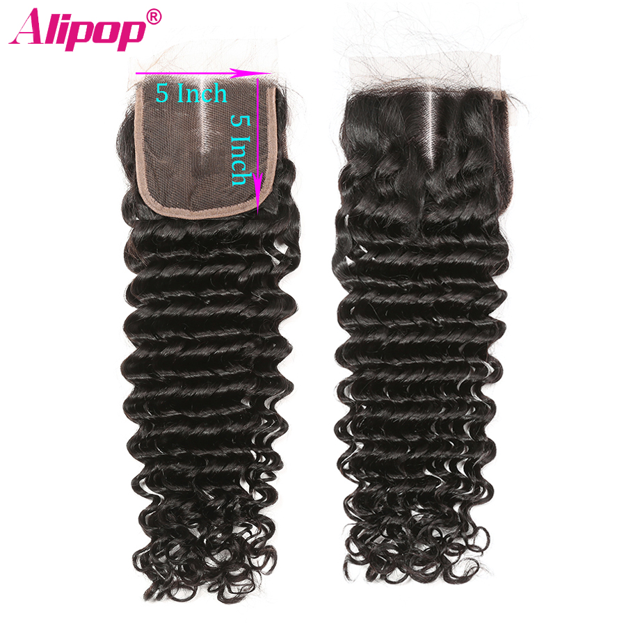 5x5 Closure Brazilian Deep Wave Lace Closure Free Middle Three Part Pre plucked With Baby Hair Swiss Lace Remy Human Hair ALIPOP (3)