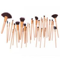 2017 32 Pcs Set High Quality Coffee Gold Professional Cosmetic Makeup Brush Set Nylon Hair Brush