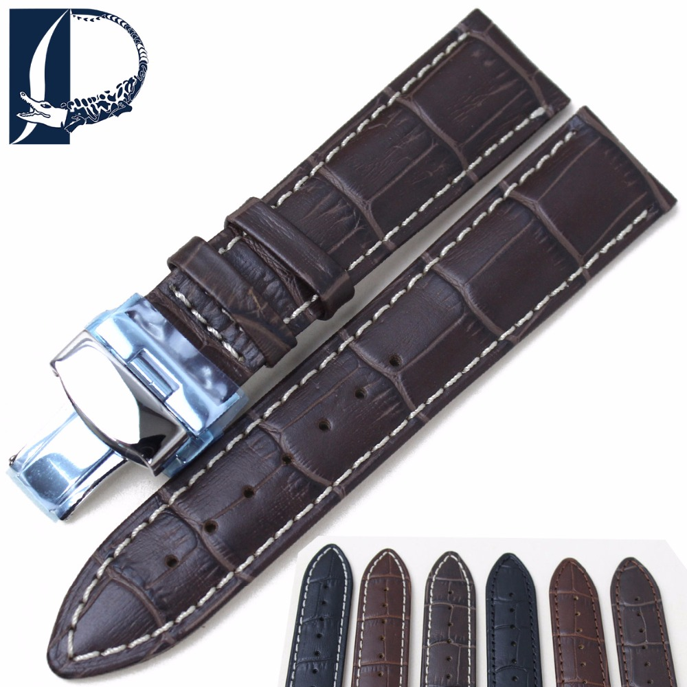 Pesno Black Brown Dark Brown Watchband Genuine Leather Watch Band 18mm 20mm 22mm High Quality WatchStrap Silver Steel Buckle high quality 20mm 22mm 24mm leather watch strap man watch straps black brown gray stainless steel buckle thick line watch band