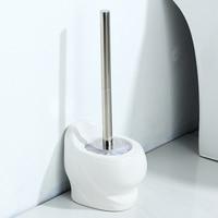 Ceramic base toilet brush set creative toilet shape brush European bathroom soft hair long handled white toilet brush LO529453
