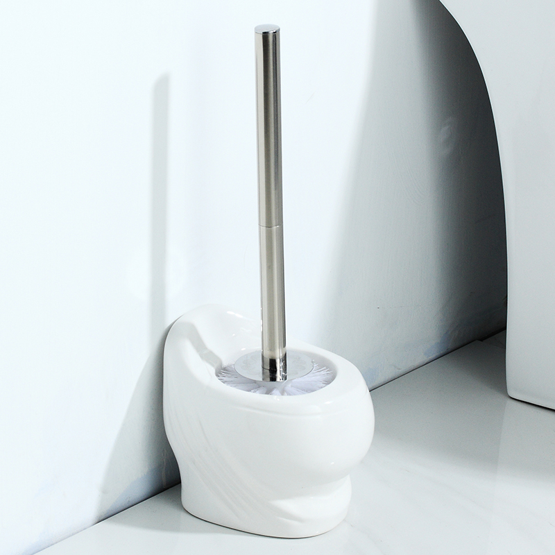 Ceramic base toilet brush set creative toilet shape brush European bathroom soft hair long-handled white toilet brush LO529453 цена