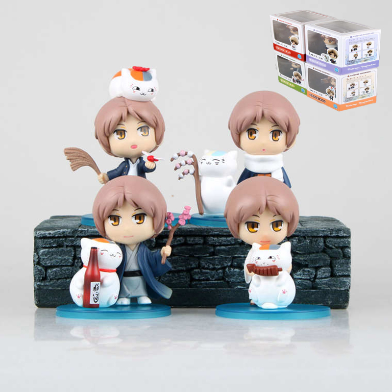 4Pcs Natsume Yuujinchou Nyanko Sensei Figma Japanese Anime cute cat pvc action figures minifigures figuras kids Birthday toys new hot 16cm natsume yuujinchou cat nyanko sensei action figure toys collection christmas gift