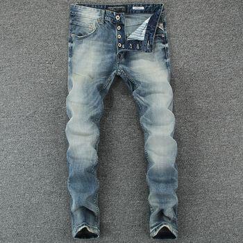 Italian Style Fashion Men's Jeans Blue Color Slim Fit Cotton Classical Jeans Casual Pants Brand Designer Buttons Jeans Men orange button fly dsel brand fashion designer jeans men straight blue color printed mens jeans 100