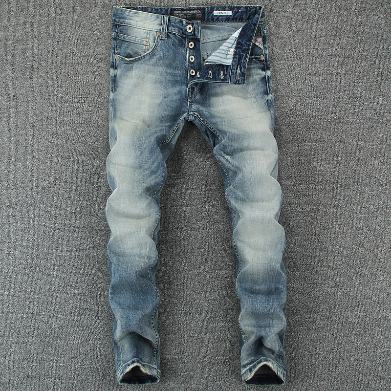 Italian Style Fashion Men's   Jeans   Blue Color Slim Fit Cotton Classical   Jeans   Casual Pants Brand Designer Buttons   Jeans   Men