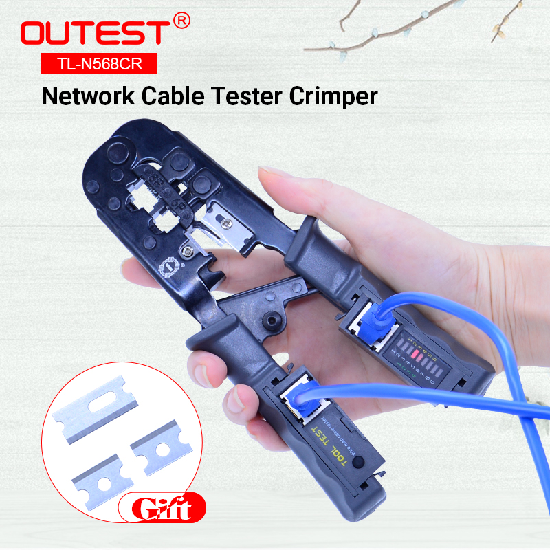 2 in 1 RJ45 Network LAN Cable Crimper Pliers Cutting Tool Cable Tester Cable Pliers 6P/8P Wire Cutter Tool Test Crimping Pliers straight type 2 in 1 pneumatic puncher crimper punching flanging tool 12mm crimping 1 6mm cutting 5mm piercing eyelet work