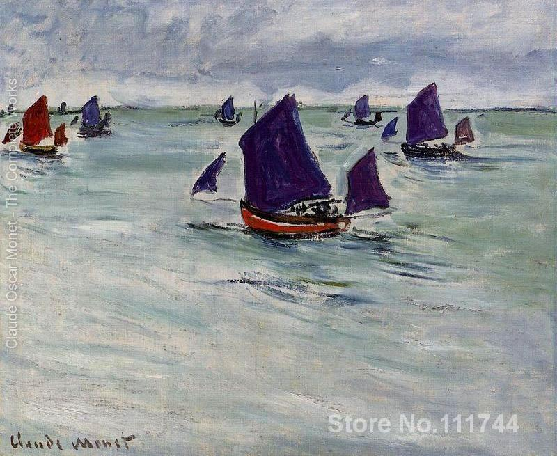 office art Fishing Boats Off Pourville famous Claude Monet paintings Hand painted High qualityoffice art Fishing Boats Off Pourville famous Claude Monet paintings Hand painted High quality