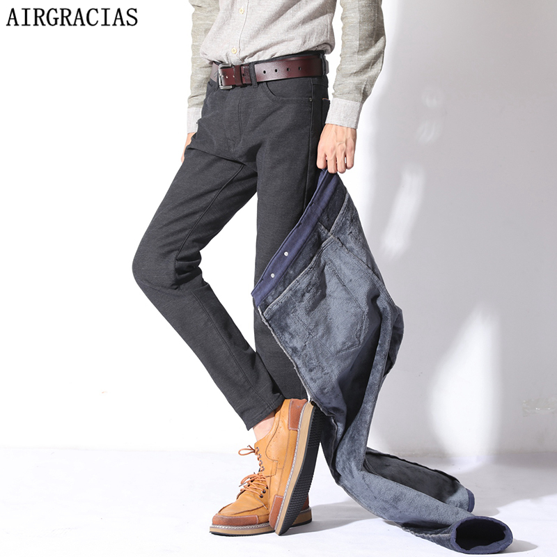 AIRGRACIAS Fleece Thicken Warm Jean Famous Brand Jeans Men Straight Regular High Quality Denim Mens Trousers Pants 28-38 airgracias elasticity jeans men high quality brand denim cotton biker jean regular fit pants trousers size 28 42 black blue