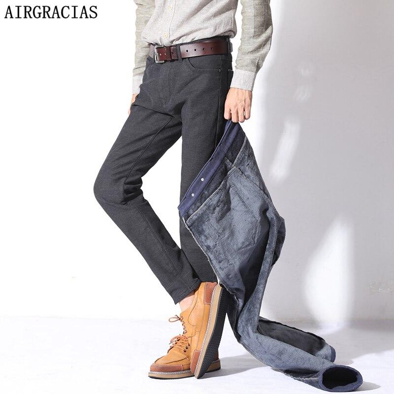 AIRGRACIAS Fleece Thicken Warm <font><b>Jean</b></font> Famous Brand <font><b>Jeans</b></font> Men Straight Regular High Quality Denim Mens Trousers Pants 28-38