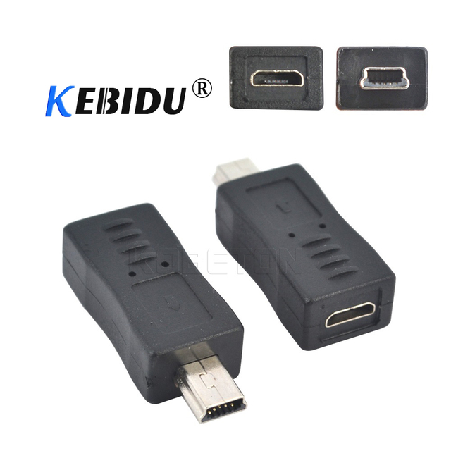 kebidu 1pcs Micro USB Female to Mini USB Male Adapter Connector Converter Adaptor For PC Phone Cables