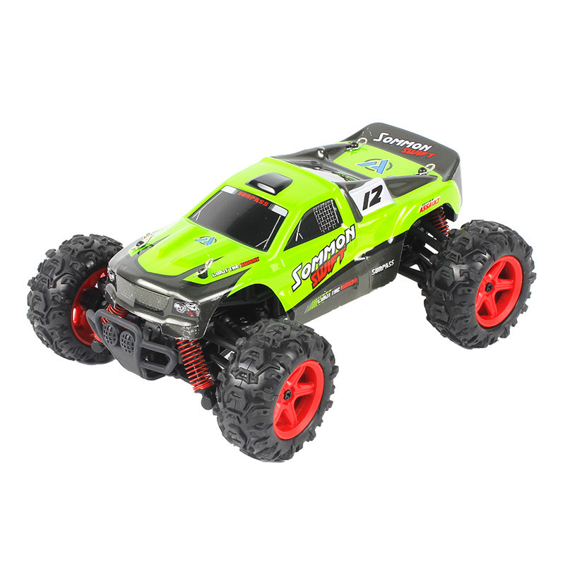 FQ 9012 1/24 2.4G 4WD Proportional High Speed RC Racing Car Off-Road Racer Electric Truck Toys Green/Orange hsp rc car 1 10 electric power remote control car 94601pro 4wd off road short course truck rtr similar redcat himoto racing