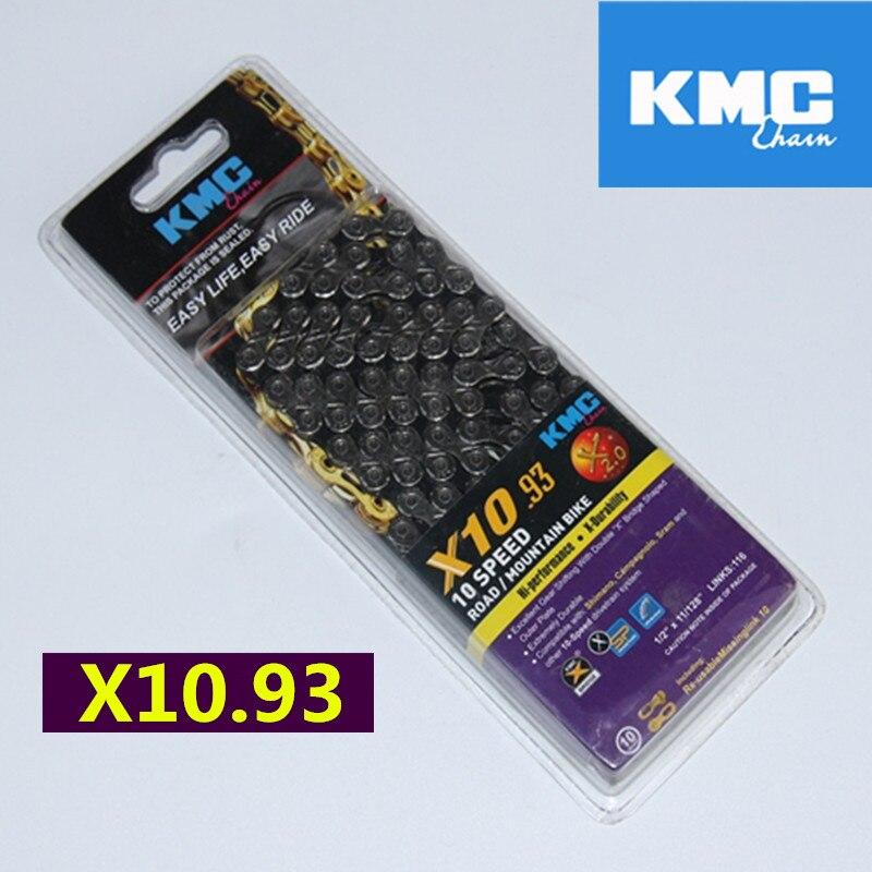 KMC X10 X10.93 MTB Rennrad Kette 116L 10 Geschwindigkeit Fahrrad Magischen Knopf Berg Mit Original box