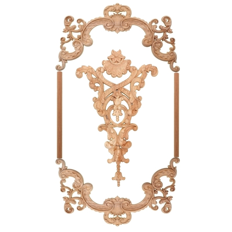 Old Wood Carved Floral Decals Decorative European Style Furniture Wall Frame Is Not Painted Household Cabinet Door Decoration in Figurines Miniatures from Home Garden