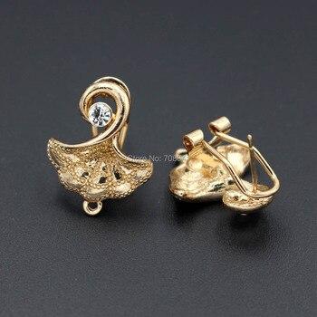 Metal Clip Earring Post with a Loop Hanger 19*23 Filigree Ginkgo Leaf Rhinestone CZ DIY Findings for Pearls Stud Earrings Making