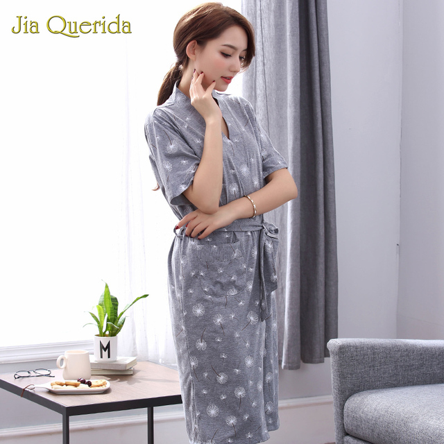 Robes Women Summer Shorts Cotton Bathrobe Plus Size Batas De Mujer Cooton Long Kimono Robe Grey Floral Printing Thin Womens Robe