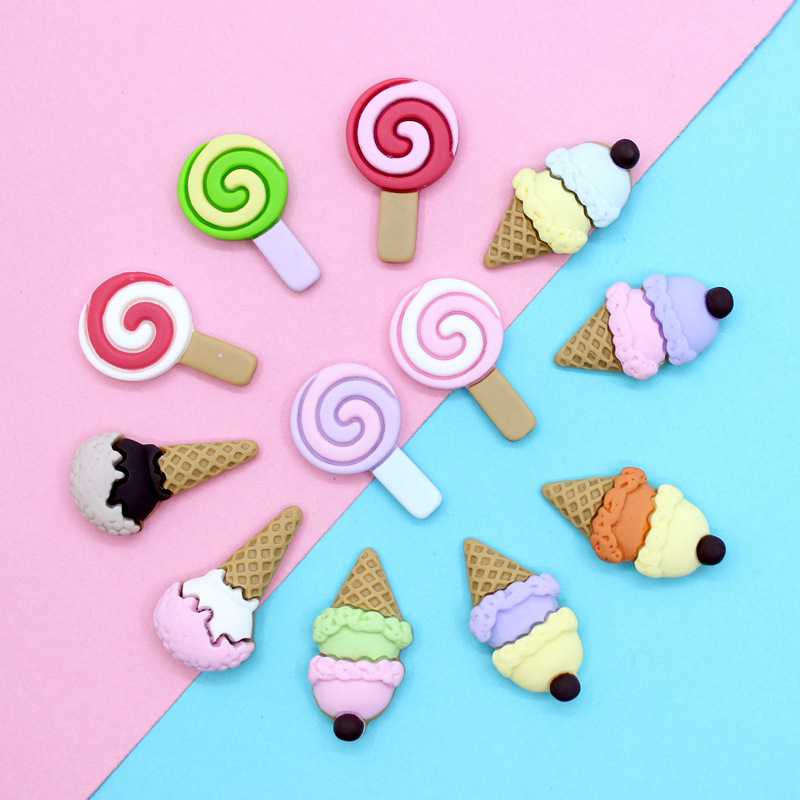 Happy Monkey 10pcs Slime Supplies Charms Toys Cute Ice Cream Candy Addition Filler For Fluffy Clear Crystal Slime