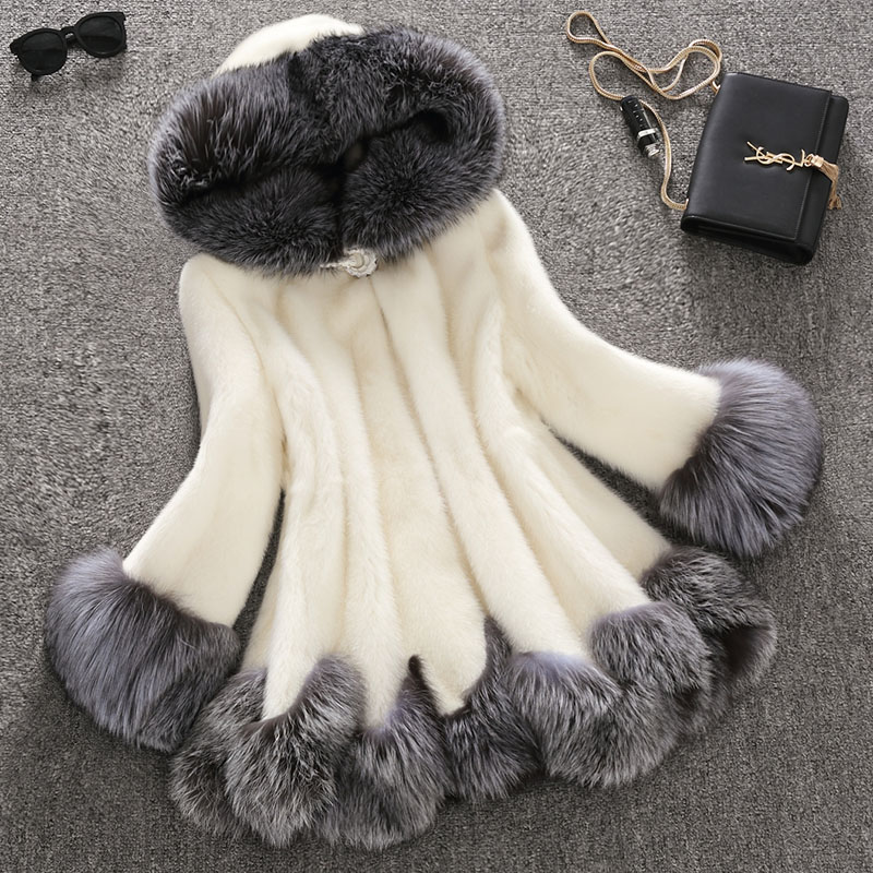 ne Faux Fur Coat Hooded Parka White Jacket Women Faux Fur Coat Hooded Mink Fur Winter Warm Fox Collar Female Coat Long Plus Size pearl beading textured faux fur coat