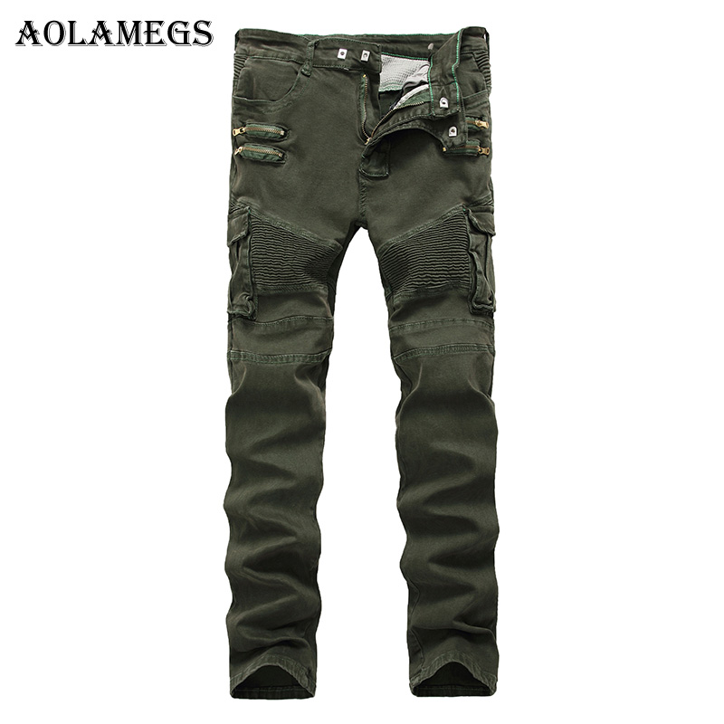 Aolamegs Men Jeans Pants Army Green Double Fake Zipper Solid Motorcycle Full Length Trouser Summer Splice Denim Fashion Straight