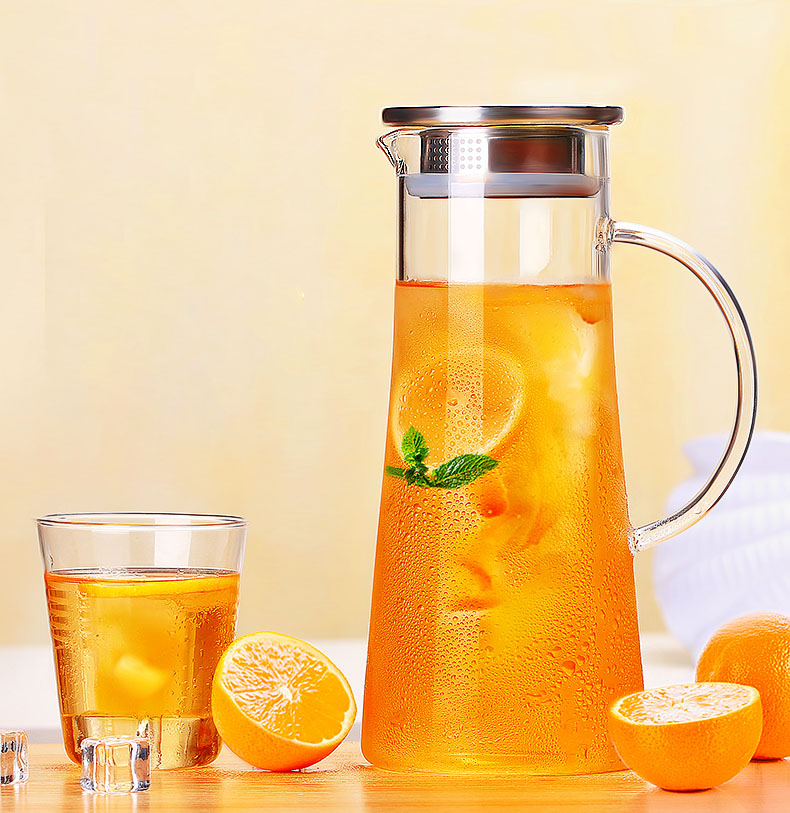 High Quality Glass Kettle Two way Outlet Water Jug Heat Resistant Transparent Teapot Stainless Steel Strainer