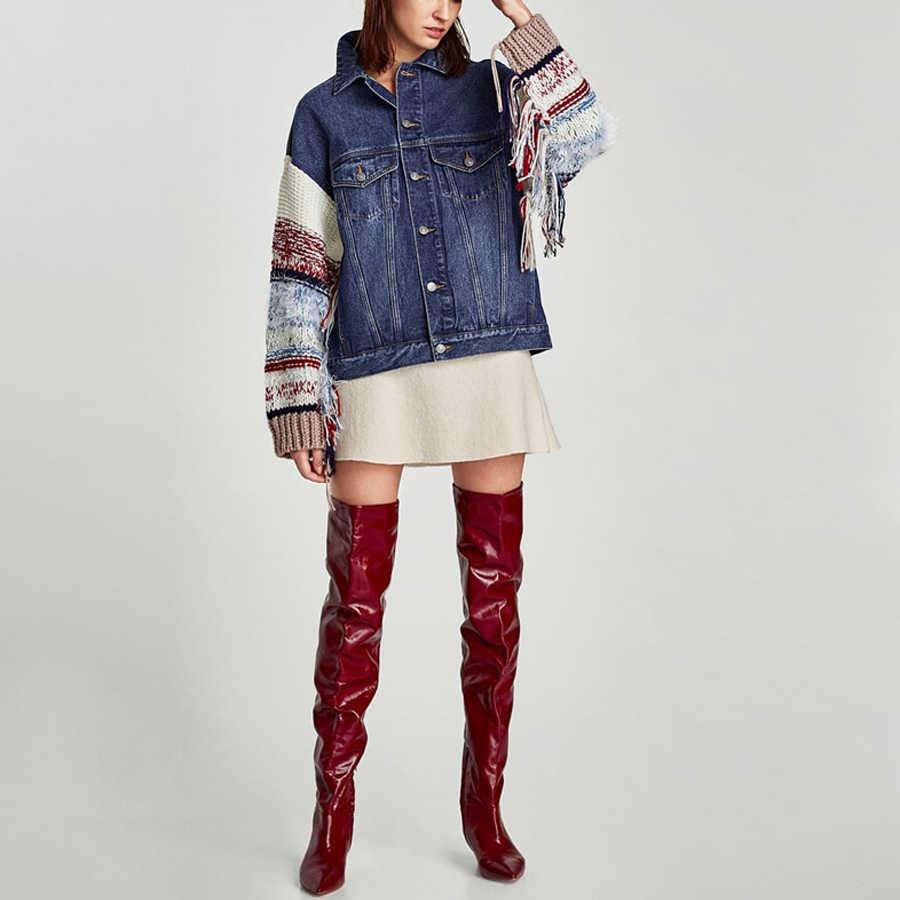 TEELYNN boho สีฟ้ากางเกงยีนส์สำหรับสตรี 2018 chic Spliced sweaterlong แขน Hippie warm ฤดูหนาวแจ็คเก็ตเสื้อ Outerwear