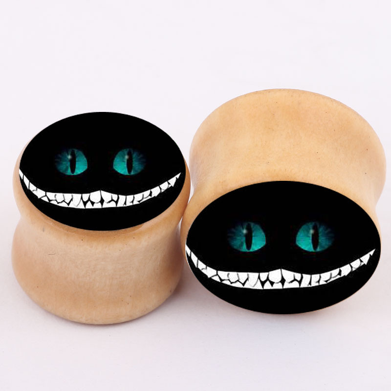 Solid Natural Wood Ear Plugs tunnel stretchers Earlets Gauges ghost cat logo piercing font b earring