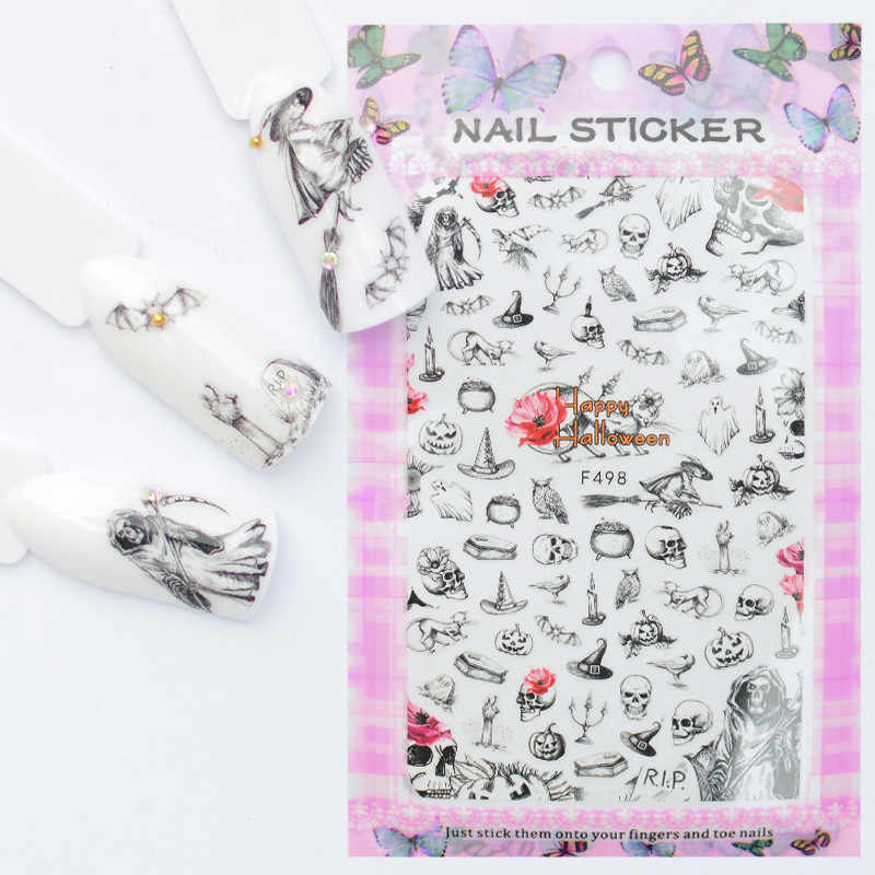 LCJ 32 Designs Available Nail Sticker Halloween Design Slider DIY Nail Art Decal Charms Foils Tips Decoration