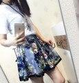 Plus tamaño de la falda de la vendimia de las mujeres 2016 verano estilo coreano vestido saia feminina tutu falda mujeres falda de flores de gasa plisada A0562 A