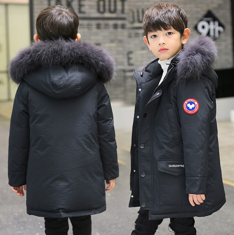 Children's down jacket boys in the long section 2018 new big children Korean version of the thick winter coat large fur collar boy windbreaker 2018children s windbreaker coat in the long section of self cultivation in the korean version of children s wear
