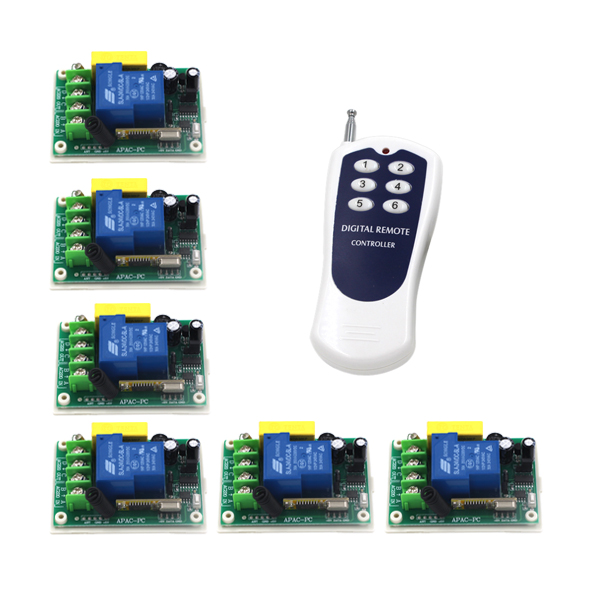 AC 220V 30A 1CH RF Wireless Remote Control Switch System,315/433 MHZ 6CH Transmitter & 6 X Receivers,Momentary/Toggle SKU: 5519 ac 85v 250v 1ch rf wireless remote control switch system 1 transmitters