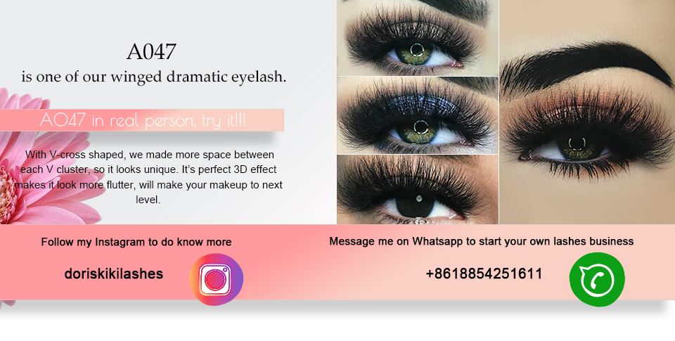 29923782736 A047 is one of our winged dramatic eyelash. With V-cross shaped, we made  more space between each V cluster, so it looks unique. It's perfect 3D  effect makes ...