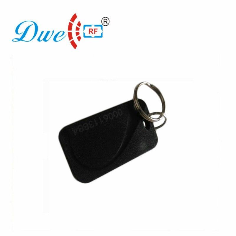 DWE CC RF 125khz EM4100 or 13.56mhz MF RFID Keyfob Black Card Reader Tag For Access Control  K003 dwe cc rf wiegand26 125khz rfid id card tag keyfob reader waterproof access control wg26