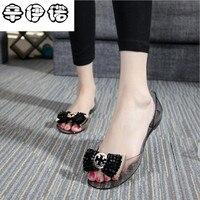 2018 Summer New Jelly Shoes Women Sandals Non Slip Flat Rhinestone Beads Beach Transparent Plastic Crystal