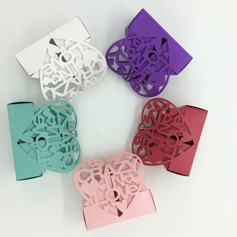 120pcs Souvenir Wedding Favor Box Paper Hollow out With Words ...