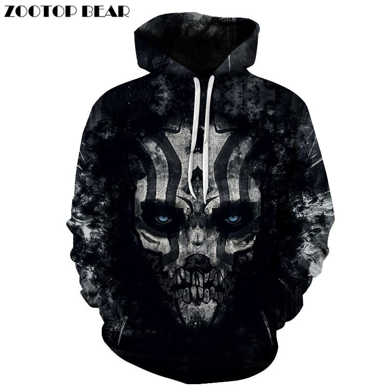 Skull Hoody Black Hoodies Sweatshirt 3d Hoodie Mens Tracksuit 3d Printing Pullover Harajuku Hoody Brand Drop Ship ZOOTOP BEAR