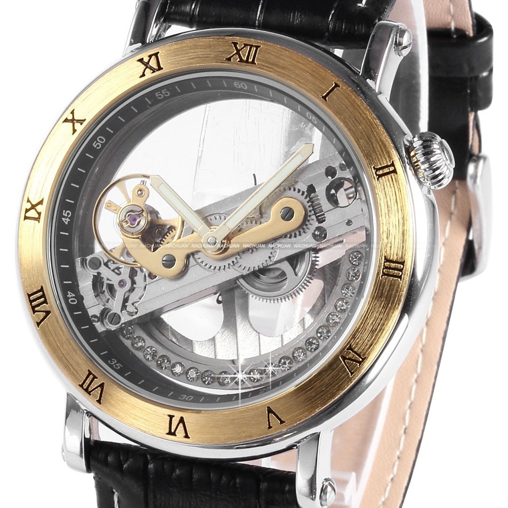 mechanical skeleton watch classic hand dial band transparent luxury winding mens winner watches sport strap men shop wristwatches leather army hollow